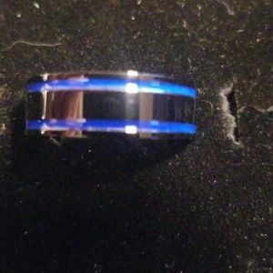 Other - Mens blue and black Titanium Ring